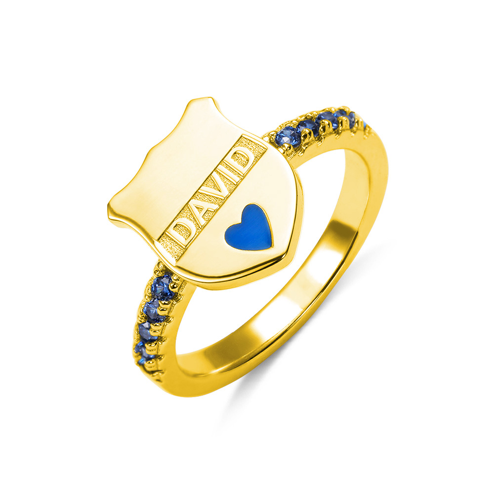 Personalized Police Badge Ring