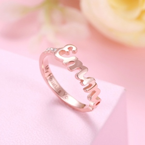Personalized Dainty Name Birthstone Ring