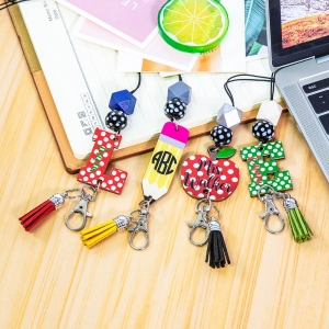 Personalized Cute Pencil/Apple/Initial Lanyard