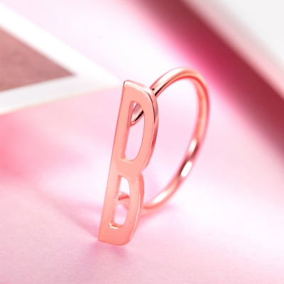 Personalized Big Letter Ring in Rose Gold