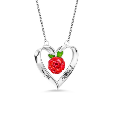 Personalized Rose Heart Necklace