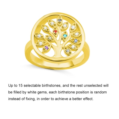 Personalized Family Tree Birthstone Ring in Gold