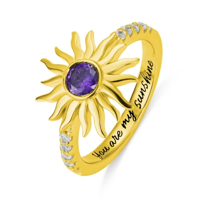 Personalized You Are My Sunshine Birthstone Ring
