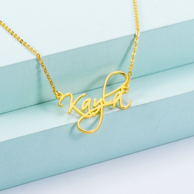 Personalized Calligraphy Name Necklace in Gold