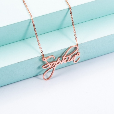 Personalized Calligraphy Name Necklace in Rose Gold
