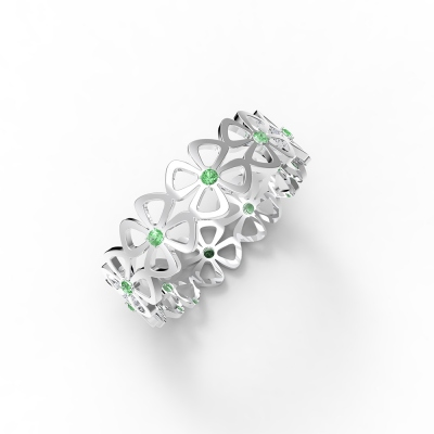 Personalized Four-Leaf Clover Array Birthstone Ring