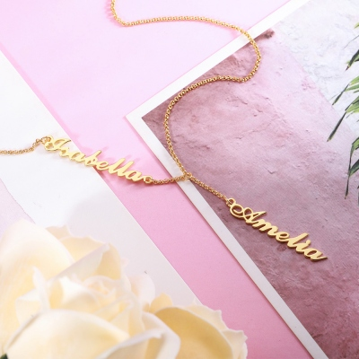 Personalized Two Names Y-shaped Necklace in Gold