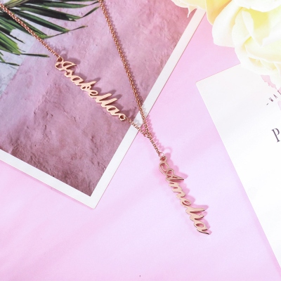 Personalized Two Names Y-shaped Necklace in Rose Gold