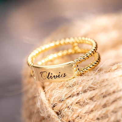 Personalized Twisted Rope Ring Gold