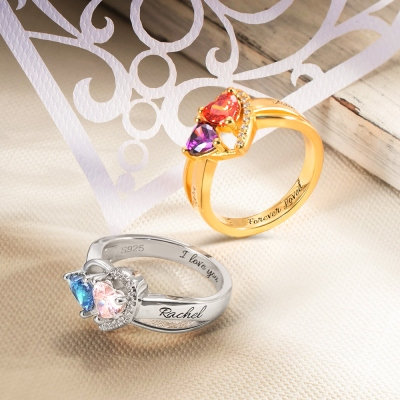 Engraved Heart Birthstone Ring Couple's Ring