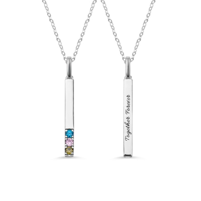Personalized 1-9 Birthstone Bar Necklace