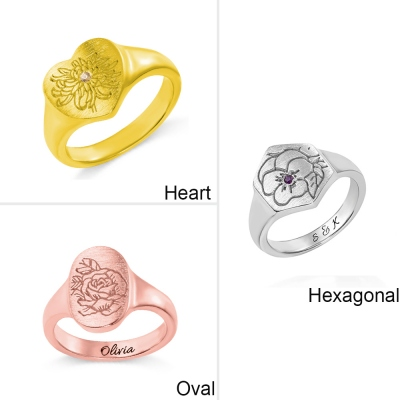 Personalized Birth Flower Signet Ring
