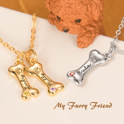 Personalized Exquisite 1-8 Name Dog Bone Necklace