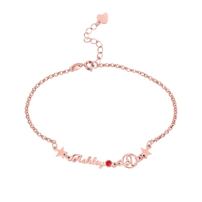 Personalzied Constellation Name Bracelet with Birthstone