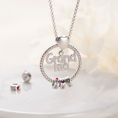 Personalized Name and Birthstone Family Necklace for Mother in Silver