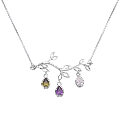Custom Family Tree Branch Birthstone Necklace