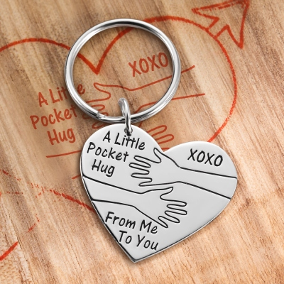 Personalized Pocket Hug Keychain for Long Distance Gift