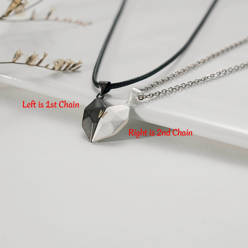 2 Pieces Custom Magnetic Patchwork Heart-Shaped Necklace
