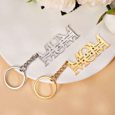 Customized 1-12 Family Names Key Chain Gift for Mother