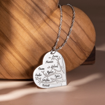 Personalized 1-12 Names Heart Family Tree Necklace