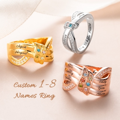Family Jewelry Personalized 1-8 Birthstone and Name Ring