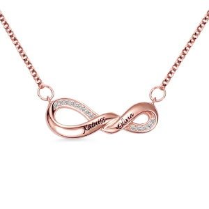 Engraved Infinity Double Name Necklace for Her in Rose Gold