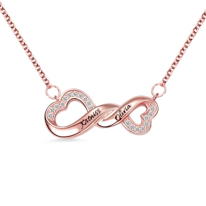 Engraved Infinity Double Heart Name Necklace for Her in Rose Gold