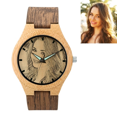Men/Women Customized Photo Bamboo Wood Watch