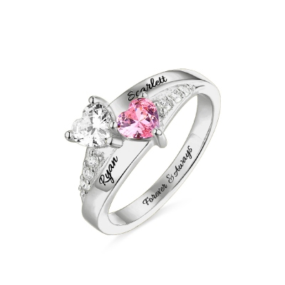 Engraved Double Heart Birthstone Ring Sterling Silver