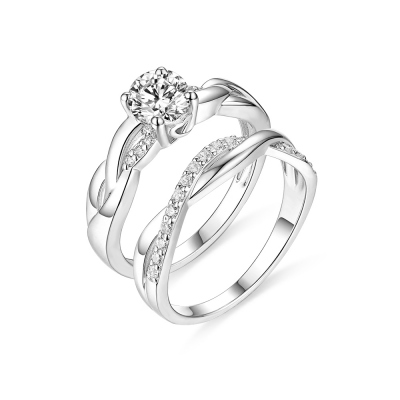 Customized Infinity Love Promise Ring Set