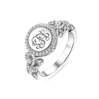 Engraved Sterling Silver Crown Monogram Ring