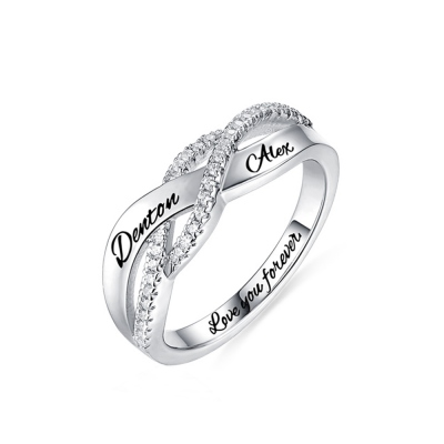 Engraved Name Sterling Silver Twisted Ring