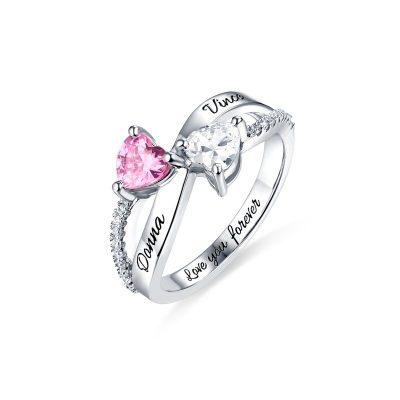 Engraved Two Heart Shaped CZ Ring In Silver