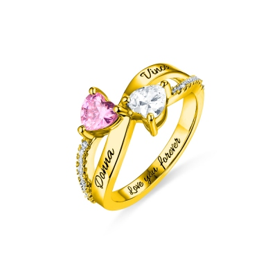 Engraved Two Heart Shaped CZ Ring In Gold
