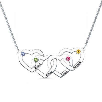 Four Hearts Names&Birthstones Necklace In Silver