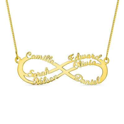 Personalized 6 Names Infinity Symbol Necklace In Gold