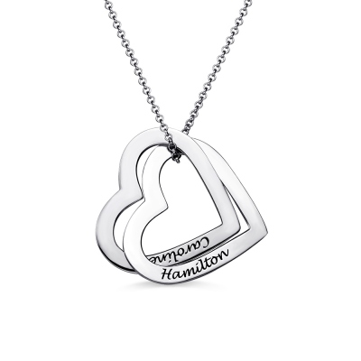 Interlocking Sterling Silver Hearts Name Necklace