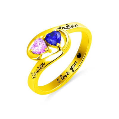 Engraved Two Heart Birthstones Promise Ring In Gold
