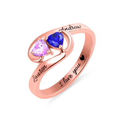 Engraved Two Heart Birthstones Promise Ring In Rose Gold