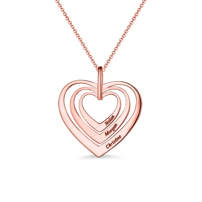 Engraved Family Heart Necklace In Rose Gold