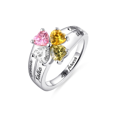 Engraved Mother's Love and Luck Birthstones Ring Sterling Sliver