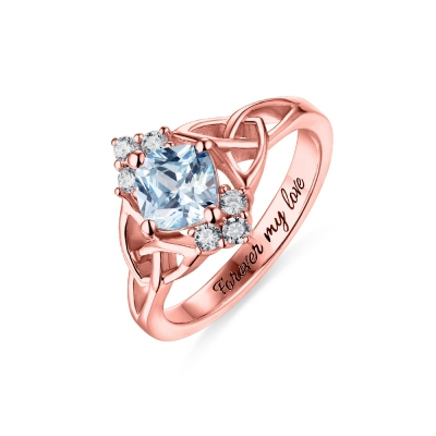Engraved Celtic Band Birthstone Ring In Rose Gold
