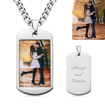 Custom Stainless Steel Photo Dog Tag Keychain/Necklace
