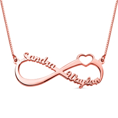 Personalized Infinity Heart Double Name Necklace Rose Gold