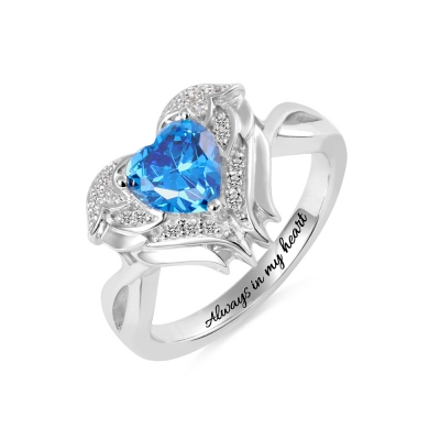 Engraved Angel Wings Ring with Birthstone Sterling Silver for Her