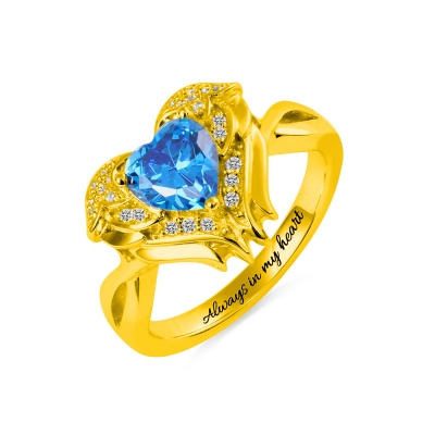 Engraved Angel Wings Ring with Birthstone in Gold for Her