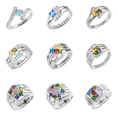 Personalized 1-9 Square Birthstone Ring with Engraving in Silver