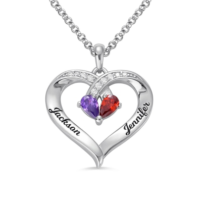 Forever Together Engraved Birthstone Necklace in Silver