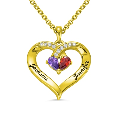 Forever Together Engraved Birthstone Necklace in Gold