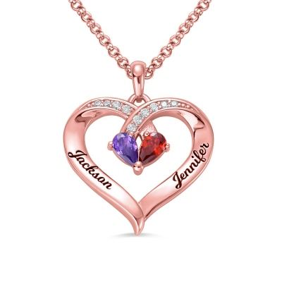 Forever Together Engraved Birthstone Necklace in Rose Gold